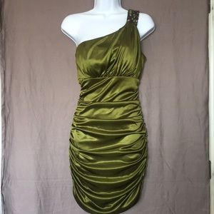 SPEECHLESS OLIVE GREEN MINI DRESS